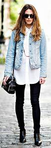 Stylish outfits tight jeans long white shirt and blue jeans jacket   elfsacks   Fashion ...