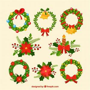 Set of decorative christmas wreaths Vector | Free Download