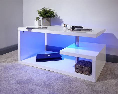Dining table, sideboards, coffee tables and tv cabinets, the milano range integrates led lighting into furniture to create. Polar Modern White High Gloss Blue LED Coffee Table | Home, Furniture & DIY, Furniture, Tables ...