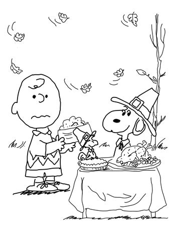 charlie brown thanksgiving coloring page supercoloringcom