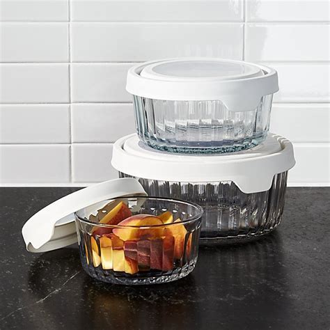 Anchor Hocking Embossed Glass 6 Piece Food Storage with