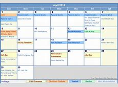April 2018 Calendar With Holidays monthly calendar template