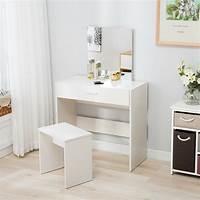 make up table Vanity Dressing Table & Stool Set Makeup Dresser Desk with ...