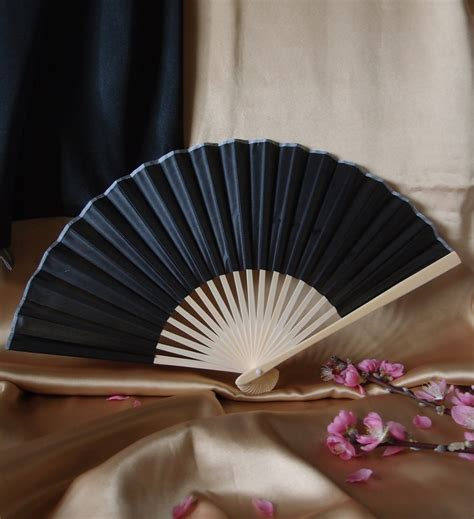 hand fans for wedding 9 quot black chinese folding silk hand fan for weddings on