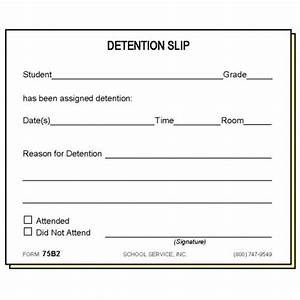 75b2 two part detention slip carbonless forms With detention slip template
