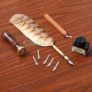 Antique Owl Feather Quill Dip Pen Writing Ink Set Rare ...