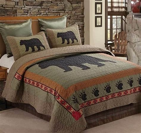 black bear paw twin quilt set lodge cabin country