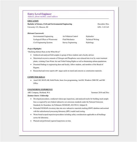 civil engineer resume template  samples  word