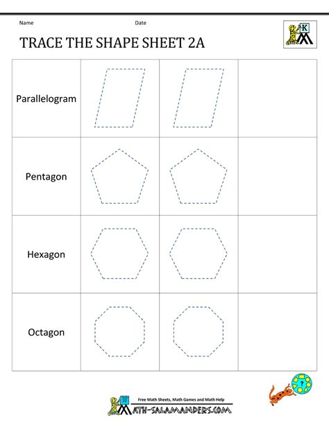 2d shapes worksheets kindergarten 2d shapes worksheets