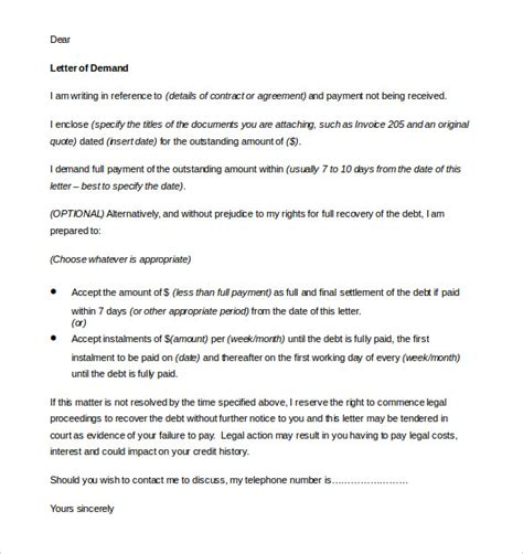 demand for payment letter demand letter templates 9 free word pdf documents 11445