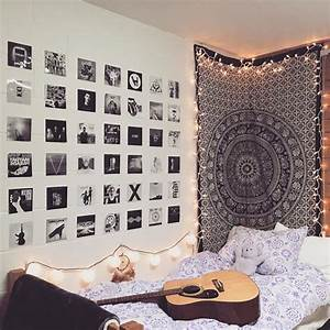 Diy indie bedroom decor wall mounted white frame mirror