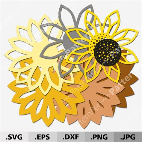 Mandala multilayer layout size (each finished product): 3D Mandala Sunflower SVG files for Cricut Silhouette ...