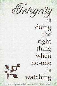 Integrity is doing the right thing when no-one is watching ...