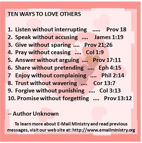 Ten Ways To Love Others  Email Ministry