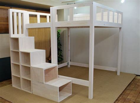 diy loft bed with storage white build a rustic modern