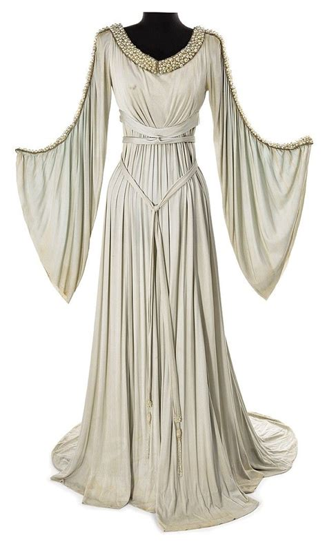 grey crepe period dress purchased    mgm auction