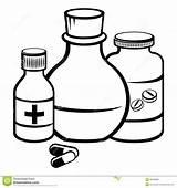 Medicine Clipart Coloring Pills Bottle Sketch Pill Bottles Medicina Medizinflaschen Bottiglie Della Flessen Geneeskunde Capsule Template Stockbilder Printable Bild sketch template