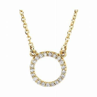 Necklace Gold Circle Diamond 14kt Circular Diamonds