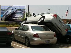 A 13yearold girl launches her grandmother's car on top