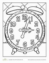 Clock Coloring Worksheets Pages Face Kindergarten Worksheet Printable Tock Education Tick Clocks Template Faces Grandfather Colouring Telling Cuckoo Tell Numbers sketch template