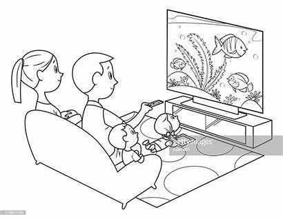 Coloring Television Watching Clip Clipart Illustrations Grafiken