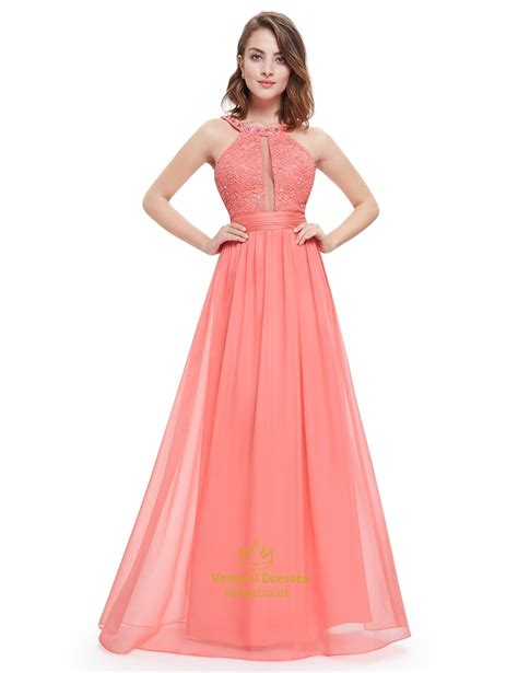 lace fit and flare dress coral sleeveless beaded chiffon prom dress with jewelled