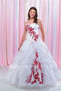 wholesale 2012 modest christmas ruffles organza ball gown With red wedding dresses for sale
