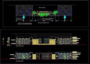 Modern Boundary Wall detail and Gate design Plan n Design