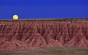 """""""Harvest Moon Over The Badlands-Badlands National Park, SD"""