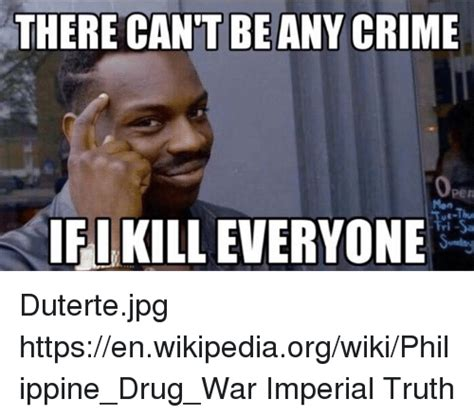 Wiki Meme - there cant be any crime ifikilleveryone dutertejpg httpsenwikipediaorgwikiphilippine drug war