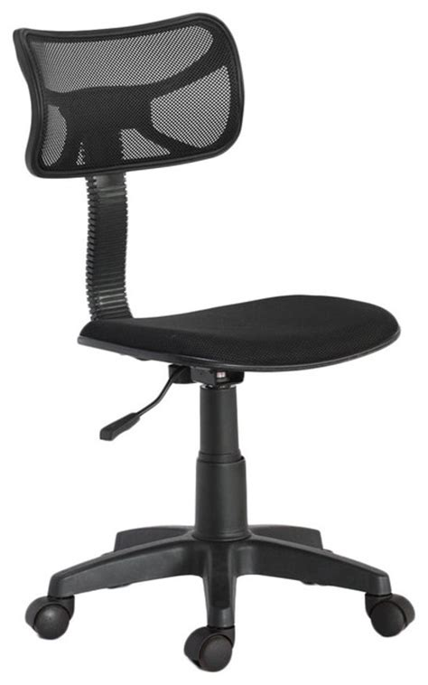 armless black task chair with mesh back contemporary
