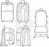 Backpack Flat Drawing Sketches Technical Travel sketch template