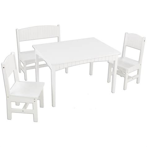 kidkraft nantucket table with bench and 2 chair set 26110