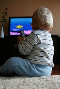 Baby, Watching, Tv, Stock, Photo, Image, Of, Color, Technology