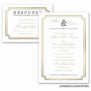 gold frame invitation with free respond postcard ann39s With all in one wedding invitations reviews