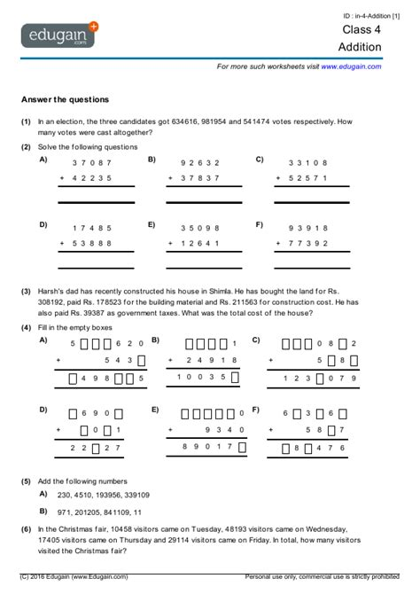 year 4 math worksheets and problems addition edugain