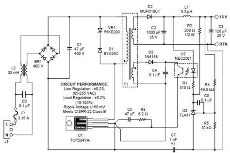 top204 15v switching power supply circuit circuit diagram