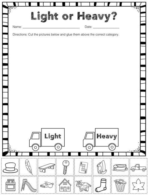 free heavy and light sorting activity preschool