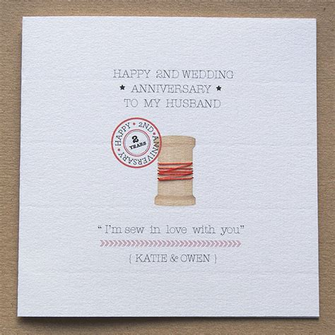 second wedding anniversary personalised second anniversary card by button box cards notonthehighstreet com