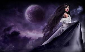 Long hair, Moon, dress wallpapers and images - wallpapers ...