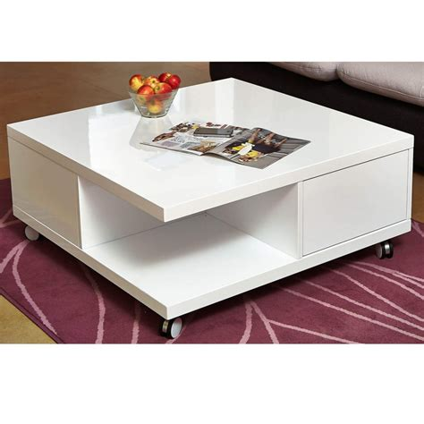 Habitat sona storage hammered aluminium coffee table. Tiffany White High Gloss Square Storage Coffee Table | Furniture123