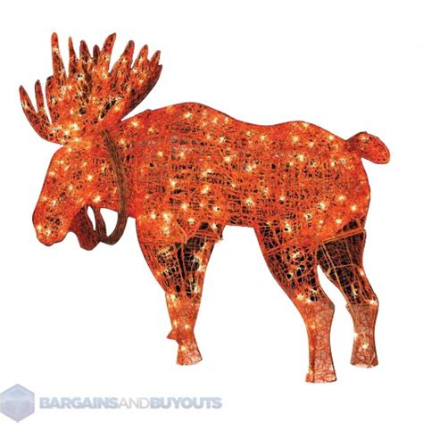 outdoor metal frame lighted moose christmas decoration