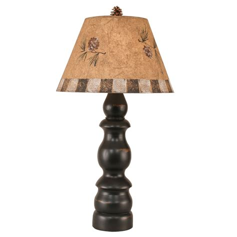 pine cone l shade black baluster table l with pine cone shade and detail