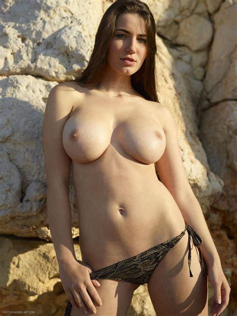 Stunning Brunette Beside Rock Wall Yara Part 2 12 Pics