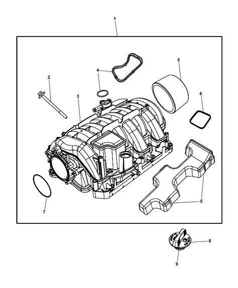 Dodge Engine Diagram For 5 7 by Intake Manifold For 2015 Dodge Challenger Mopar Parts