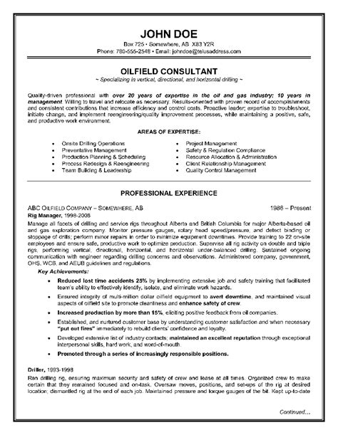 Resume Writing Template by Exle Of A Oilfield Consultant Resume Sle Resume
