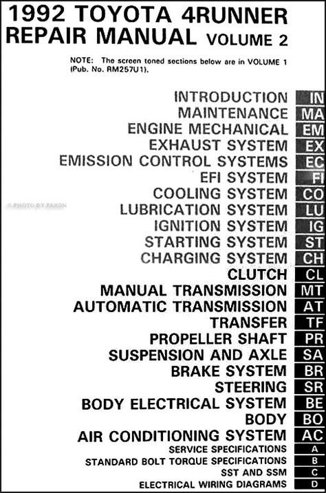 1992 Toyota 4Runner Repair Shop Manual Set Original