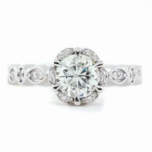 Best selling vintage style floral moissanite engagement for Where to sell old wedding ring