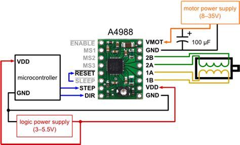 pololu minimal wiring diagram  connecting  microcontroller    stepper motor