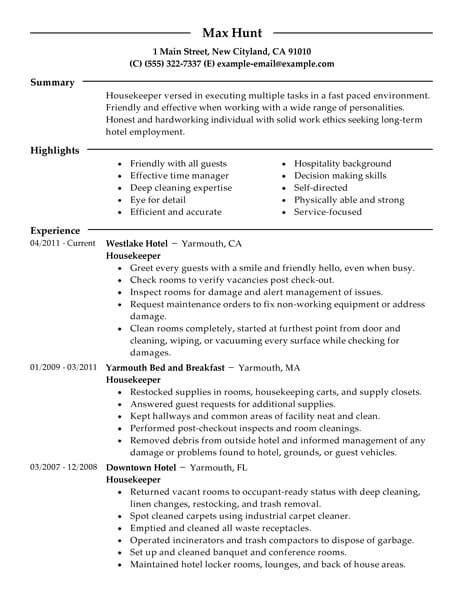 Resume For Hotel Housekeeping by 12 Hospitality Resumes Sles Paystub Format
